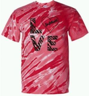 Adult Red Tiger Stripe Tie Dye LOVE Softball Zebra T Shirt Clothing