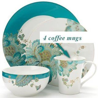 222 Fifth Eliza Teal Paisley Coffee Mugs, Set of 4 Salad Plates Kitchen & Dining