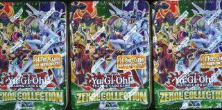 Lot of THREE(3) 2013 YU GI OH ZEXAL Collection Factory Sealed Premium Tins ! These Tins gives Duelist a whole new way to upgrade their deck composed entirely of NEW VARIANT Cards ! Each Awesome Tin Includes 3 Ultimate Rare Variant cards, 4 all new Ultra Ra