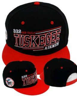 PREMIUM Red Tails Tuskegee Airmen Flatbill Snapback Baseball Cap, 332nd Fighter Group 1941, WWII, BLACK Baseball Hat with Red, White, Black and Sky Blue Embroidered Details, Air Force Hat, African American Heroes, Military Service, Heroes In Time and Space