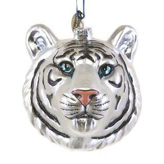 White Tiger Head Glass Ornament   Christmas Ornaments