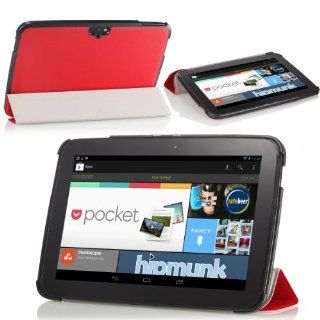 MoKo Ultra Slim Lightweight Smart shell Stand Case for Google Nexus 10 inch Tablet by Samsung, RED (with Smart Cover Auto Wake/Sleep) Computers & Accessories