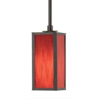 Flexbox 1 Light Pendant Finish: Satin Nickel, Shade Material: Tomato Red Fabric, Size: Small   Ceiling Pendant Fixtures