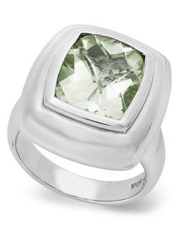 Sterling Silver Ring, Green Quartz Cushion Cut Ring (4 3/4 ct. t.w.)   Rings   Jewelry & Watches