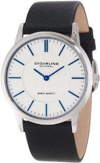 Stuhrling Original Men's 238.32152 Classic Ascot Newberry Swiss Quartz Super Slim Black Leather Strap Watch at  Men's Watch store.