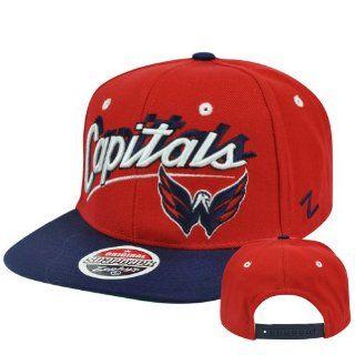 NHL Washington Capitals Zephyr Shadow Script Adjustable Snapback Flat Bill Hat  Sports Fan Baseball Caps  Sports & Outdoors