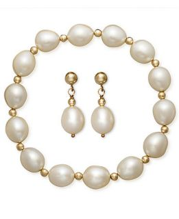 Pearl Jewelry Set, 14k Gold Cultured Freshwater Pearl Bracelet and Earrings Set   Jewelry & Watches