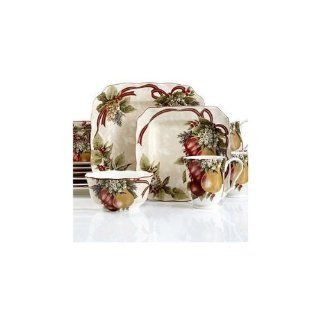 222 Fifth Fruit Yuletide Celebration Christmas Cereal Bowls, Set of 4 Kitchen & Dining