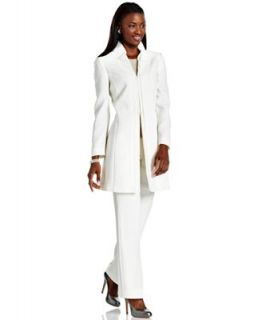 Tahari By Asl Suit Contrast Trim Long Jacket Sheath Dress Dresses