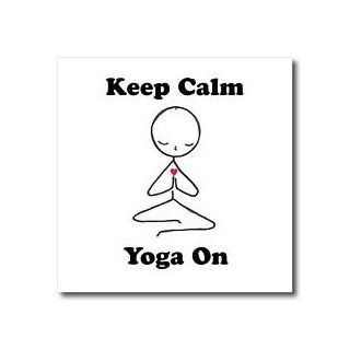 ht_123070_2 EvaDane   Funny Cartoons   Keep calm yoga on. Meditation Stick Figure. Yoga. Lotus Position.   Iron on Heat Transfers   6x6 Iron on Heat Transfer for White Material: Patio, Lawn & Garden