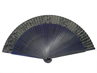 Japanese Design Silk Handheld Folding Fan, Blue Swirls and Patterns, Long Frame HF 206 P