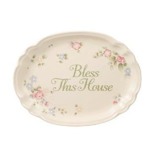 Pfaltzgraff Tea Rose Bless This House Plate   BeigePinkBlue Kitchen & Dining