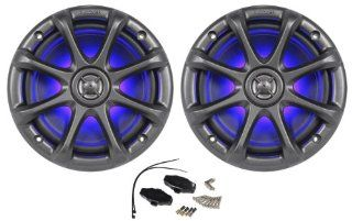 """Pair of Kicker 11KM6LC Charcoal Grey 6"""" / 6.5"""" 4 Ohm Coaxial Marine Speakers 195 Watts Peak / 65 Watts RMS Each Speaker With Vivid Blue LED Accent Lighting  Component Vehicle Speaker Systems"""