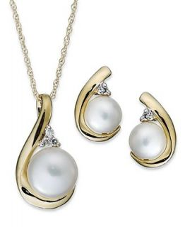 10k Gold Jewelry Set, Cultured Freshwater Pearl (5mm and 7mm) and Diamond Accent Stud Earrings and Pendant   Earrings   Jewelry & Watches