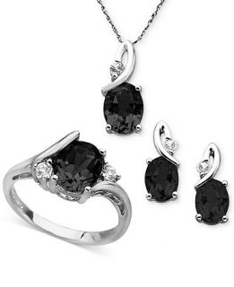Sterling Silver Jewelry Set, Onyx (5 1/5 ct. t.w.) and White Topaz (3/8 ct. t.w.) Pendant, Earrings and Ring Set   Jewelry & Watches