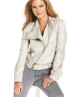 Calvin Klein Jeans Sirius Leather Moto Jacket   Jackets & Blazers   Women
