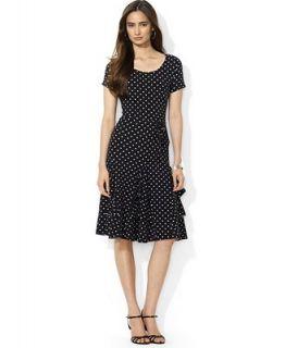 Lauren Ralph Lauren Short Sleeve Polka Dot Flared Dress   Dresses   Women