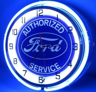 "Authorized Ford Service 18"" Double Neon Light Clock Oval Logo Emblem Garage Blue Sign   Cabinet And Furniture Locks"