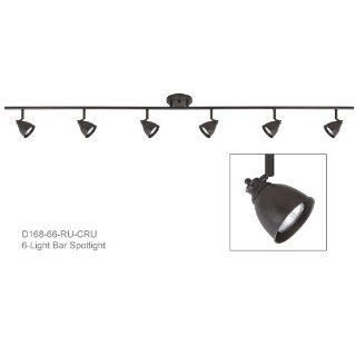 6 Light Bar Track Lighting in Rust with Metal Cone Shade D168 66 RU CRU   Close To Ceiling Light Fixtures