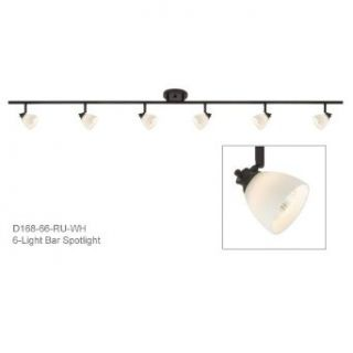 6 Light Track Bar in Rust (RU) with White Glass Shade D168 66 RU WH   Close To Ceiling Light Fixtures