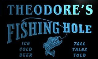 qx149 b Theodore's Fishing Hole Fly Game Room Beer Bar Neon Light Sign
