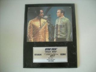 Star Trek William Shatner and Ricardo Montalban Captain Kirk and Khan Space Seed Signed Autographed Limited Edition Plaque #149 of 2,500: Entertainment Collectibles