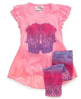 Beautees Little Girls 2 Piece Heart Tee & Printed Leggings Set   Kids