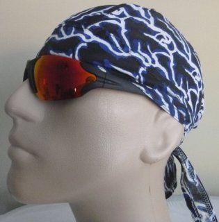 Skull Cap Lightening/ Lightning Strikes/ Stripes Hardcore Tough Looking Bikers Cap/Head Wrap/ Medical Cap/ Skull Cap/ Motorcycle Cap, Red, Blue, Black and White Colors, Breathable LIGHTWEIGHT 100% Cotton, One Size to Fit Men, Women and Teens, America, USA,