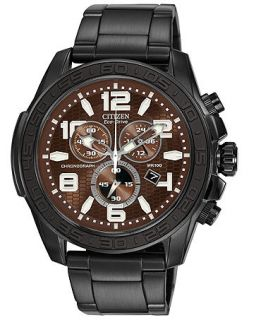 Citizen Mens Chronograph Drive from Citizen Eco Drive Black Ion Plated Stainless Steel Bracelet Watch 48mm AT2275 56X   Watches   Jewelry & Watches