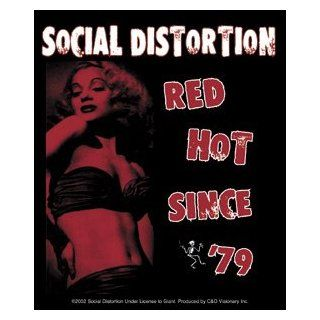 Social Distortion   Red Hot Since '79 Logo with Pinup Girl   Sticker / Decal   Music Fan T Shirts