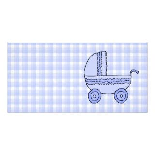 Baby Stroller. Light Blue on Check Pattern. Photo Card Template