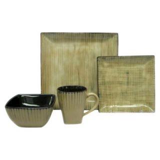 Threshold 16 Piece Bamboo Pattern Dinnerware Set Tan