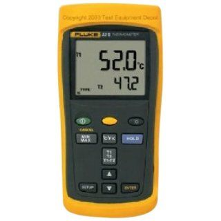 Fluke 52 2 60HZ Dual Input Digital Thermometer, 60Hz Noise Rejection, 0.05% + 0.3 Degrees C Accuracy,  418 to 2501 Degree F Temperature Range, 173mm Length x 86mm Width x 38mm Height Multimeters Industrial & Scientific