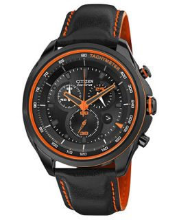Citizen Mens Chronograph Drive from Citizen Eco Drive Black Leather Strap Watch 44mm AT2185 06E   Watches   Jewelry & Watches