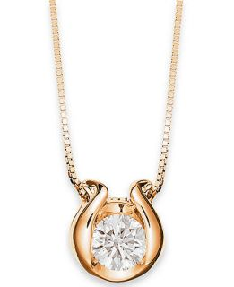 Sirena 14k Gold Necklace, Bezel Set Diamond Accent Pendant   Necklaces   Jewelry & Watches