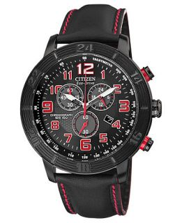 Citizen Mens Chronograph Drive from Citizen Eco Drive Black Leather Strap Watch 46mm AT2225 03E   Watches   Jewelry & Watches
