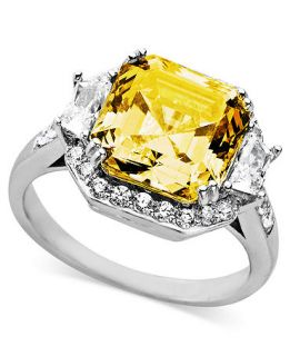Arabella Sterling Silver Ring, Yellow and White Swarovski Zirconia Cushion Cut Ring (10 1/3 ct. t.w.)   Rings   Jewelry & Watches