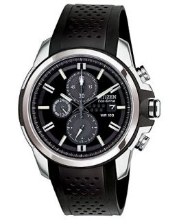 Citizen Mens Chronograph Drive from Citizen Eco Drive Black Rubber Strap Watch 45mm CA0420 07E   Watches   Jewelry & Watches