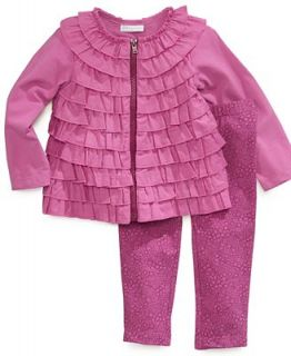 First Impressions Baby Set, Baby Girls 2 Piece Ruffle Cardigan and Printed Pants   Kids