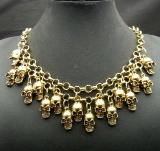 SALE OUT Limited STOCK 2014 model AAN107 2 Stds Golden Chain Necklace with 17pcs Skulls Punk Rock Hiphop Health & Personal Care