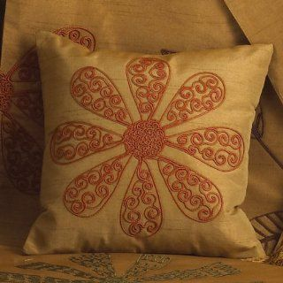 Sri Lanka Embroidered Floral Design Decorative Throw Pillow 10 Inch Square Gold