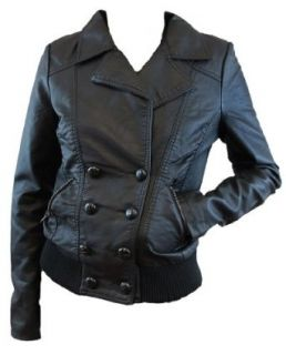 Obey Siren 2 Black Pleather Women's Motorcycle Style Jacket (Medium) Fashion Motorcycle Jackets