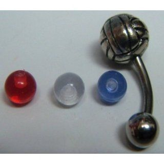 Volleyball Belly Button Ring with Colored Balls 2pc (Brand New)