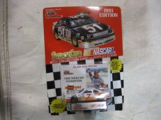 """NASCAR #7 Alan Kulwicki """"1992 Champion"""" Hooters Racing Team Stock Car With Driver's Collectors Card And Display Stand. Racing Champions Red Background Black Series 51 Car Toys & Games"""