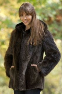 Women's Michaela Hooded Longhaired Beaver Fur Coat, COCO, Size XSMALL (2 4) at  Women�s Clothing store