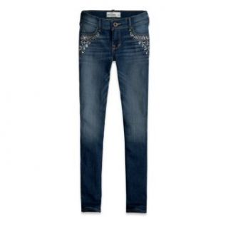 Abercrombie Kids Girls Super Skinny Embellished Dark Wash Jeans (10Slim, Dark Wash) Clothing