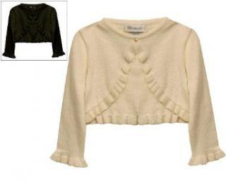 Bonnie Jean Girls PLUS Size IVORY KNIT RUFFLE BOLERO Sweater/Shrug/Jacket   XLarge (20.5) Cardigan Sweaters Clothing