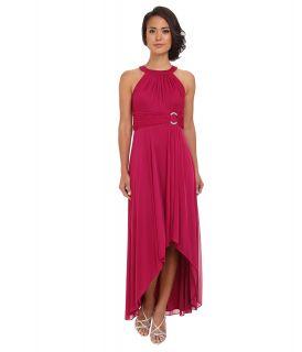 Jessica Howard Sleeveless Shirred Halter Neck Ruched Waist Dress w/ Hi Low Skirt Rhinestone Buckle Womens Dress (Red)