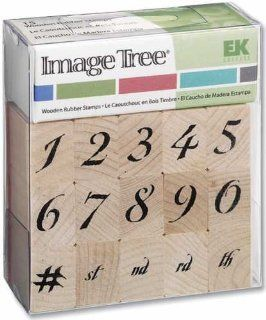Ek Success Image Tree Wood Handle Rubber Stamp Set, Calligraphy Numbers