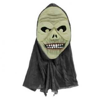 Adult Halloween Grin Mask w Black Head Costume: Clothing